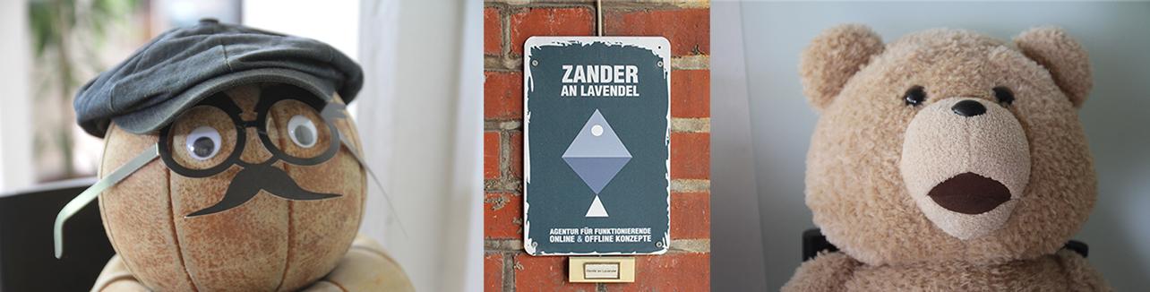 Günther und Ted als Maskottchen bei Zander an Lavendel